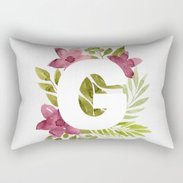 Monogram G with red waercolor flowers and green leaves. Floral letter G. Botanical illustration. Rectangular Pillow