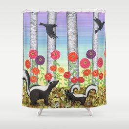 striped skunks, zinnias, birches, & crows Shower Curtain