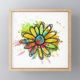 GC031-10 Colorful watercolor doodle flower green and purple Framed Mini Art Print