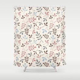 Assorted Leaf Silhouettes Pastel Colors Pattern Shower Curtain