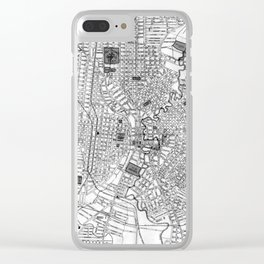 Vintage Map of San Antonio Texas (1909) BW Clear iPhone Case
