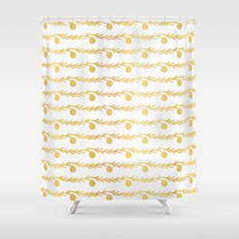 Luxe Gold Foil Christmas Tree Branch Bauble Stripes, Seamless Vector Shower Curtain