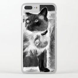 Sulley's Portrait In Black & White Clear iPhone Case
