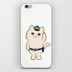 Animal Police - Cream cat iPhone & iPod Skin