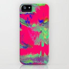 Super pink happy glitch pattern iPhone Case