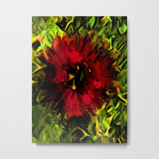 Red Flower and Green Leaves with Black Lines Metal Print