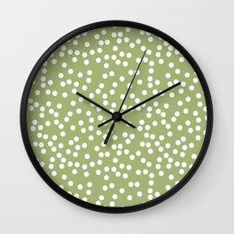 Leaf Green and White Polka Dot Pattern Wall Clock