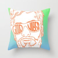 good vibes Throw Pillows featuring GOOD VIBES by YTRKMR