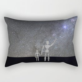 Wooden Anatomy Doll Father Shows Child the Milky Way Galaxy Rectangular Pillow