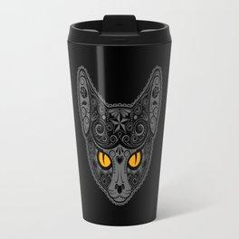 Gray Day of the Dead Sugar Skull Cat Travel Mug