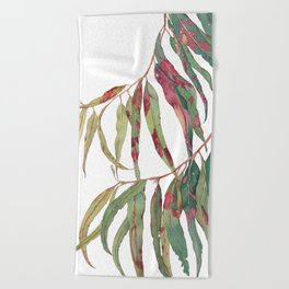 A touch of red - watercolour of eucalyptus branch Beach Towel