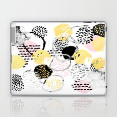 Amalia - gold abstract black and white glitter foil art print texture ink brushstroke modern minimal Laptop & iPad Skin