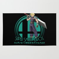 super smash bros Area & Throw Rugs featuring Cloud - Super Smash Bros. by Donkey Inferno