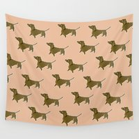 dachshund Wall Tapestries featuring Dachshund by Emma Pennington
