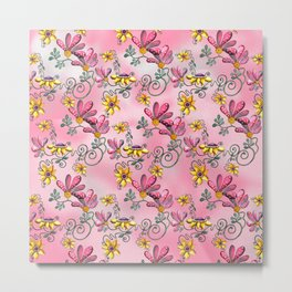 Dancing Flowers Pink Metal Print