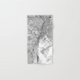 Tokyo White Map Hand & Bath Towel