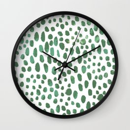 Green Watercolour Spots Wall Clock