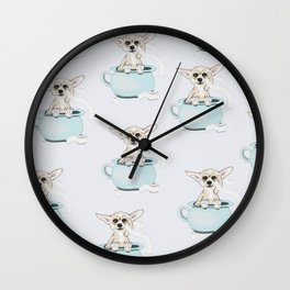 Chihuahua on toilet Wall Clock