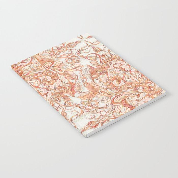 Autumn Peach Art Nouveau Pattern Notebook