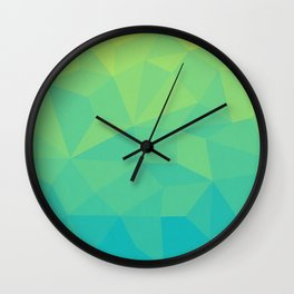 Abstract Geometric Gradient Pattern between Soft Green and Strong Cyan Wall Clock