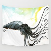 squid Wall Tapestries featuring Squid by Fernando Eizaguirre