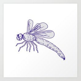 Dragonfly Flying Drawing Side Art Print