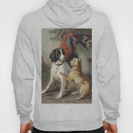 Two dogs by a kennel by Conradijn Cunaeus (1828-1895) Hoody
