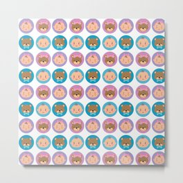 BABY AND BEAR ILLUSTRATED PATTERN Metal Print