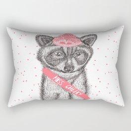 Funny girly raccoon illustration pink tiara Rectangular Pillow