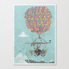 Riding A Bicycle Through The Mountains Canvas Print
