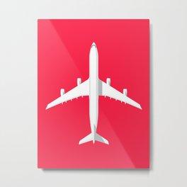 A340 Passenger Jet Airliner - Crimson Metal Print