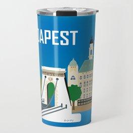 Budapest, Hungary - Skyline Illustration by Loose Petals Travel Mug