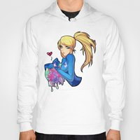 metroid Hoodies featuring Samus + Metroid by Helixel