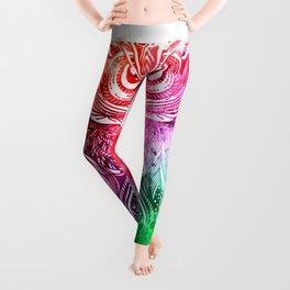 owl watercolor painting Leggings