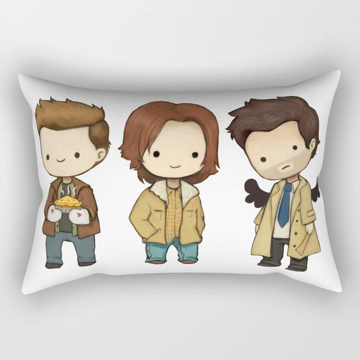 Chibi Dean Sam Castiel Supernatural Rectangular Pillow By Kamfox