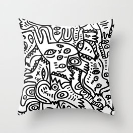 Hand Drawing Graffiti Creatures in the Summer Afternoon Black and White Throw Pillow
