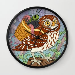 Little Owl with Packed Basket Wall Clock