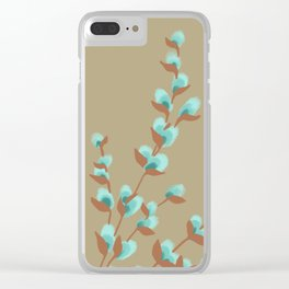 Minty Pussy Willows Clear iPhone Case