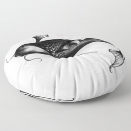 Koi Fish - Black and White Floor Pillow
