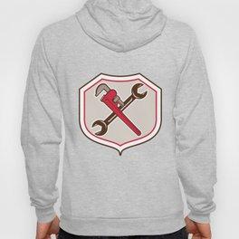 Pipe Wrench Spanner Crossed Shield Cartoon Hoody