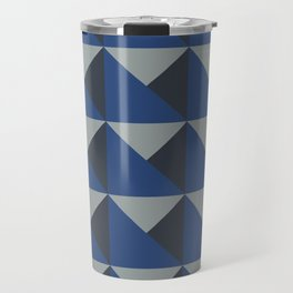 Blue + Gray Origami Geo Tile Travel Mug