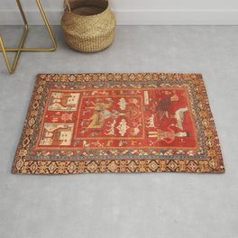 Kuba Hunting Rug With Birds Horses Camels Print Rug