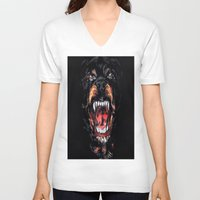 givenchy V-neck T-shirts featuring Givenchy Dog by I Love Decor