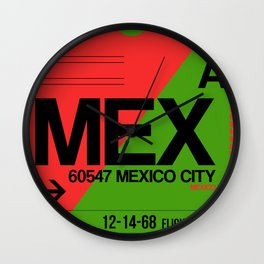 MEX Mexico City Luggage Tag 2 Wall Clock