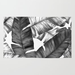 Black And White Tropical Banana Leaves Pattern Rug