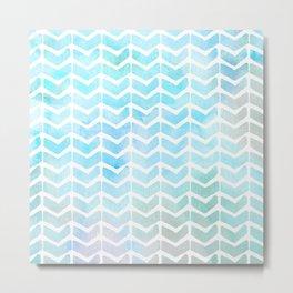 Baja Blue Watercolor Chevron Arrow Pattern Metal Print