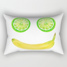 Watercolor Fruit Smiley Face Rectangular Pillow