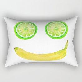 Watercolor Fruit Smiley Face Rectangular Pillow