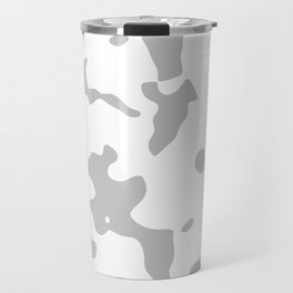 Large Spots - White and Silver Gray Travel Mug