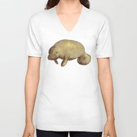 manatee V-neck T-shirts featuring Manatee by Kenton Visser